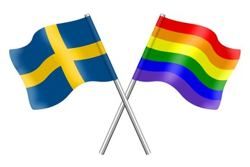 Flags: Sweden and rainbow