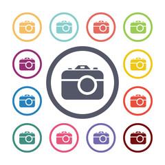 photo camera flat icons set.