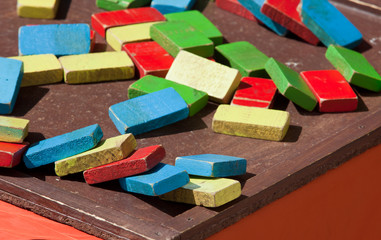 Old colored wooden toys