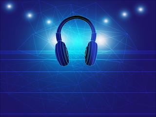 headphone techno background vector illustration