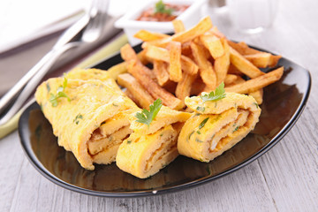 omelet adn french fries
