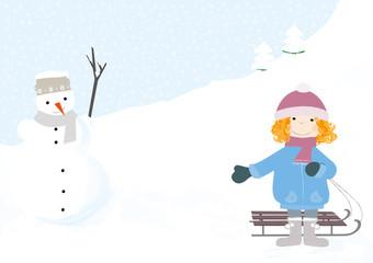 dziewcznka z sankami na tle śniegu - wektory