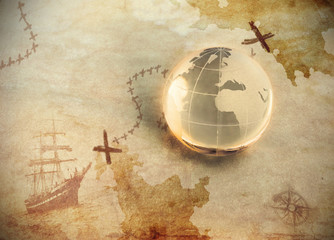 ancient treasure map with glass globe