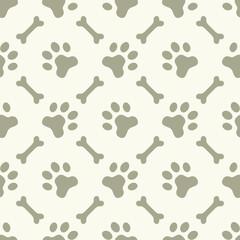 Dog paw footprint seamless pattern