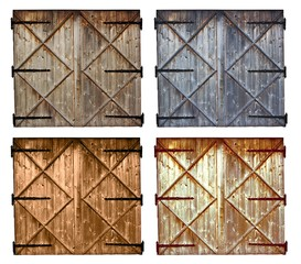 set of different colors old barn wooden door isolated on white