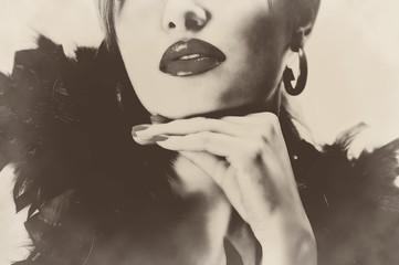 Sexy pretty beautiful woman feathers lips sepia retro vintage