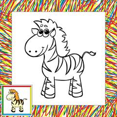 Funny cartoon zebra coloring book