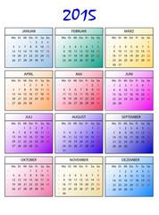 Kalender 2015 bunt ohne Feiertage