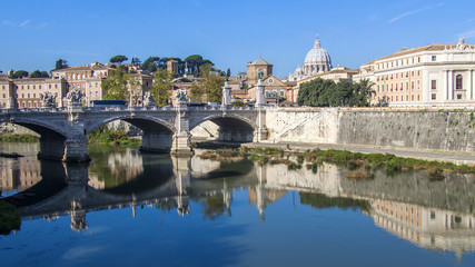 Rome, Italy. A view of embankments of Tiber and its reflection