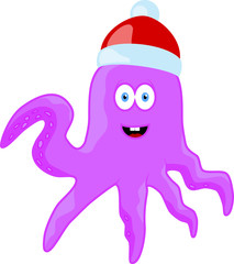 Cartoon christmas animal octopus