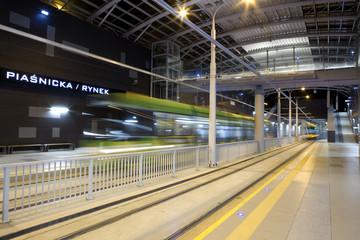 New tram line in tunnel in Poznan, Poland