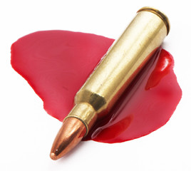 A cartridge in a pool of blood