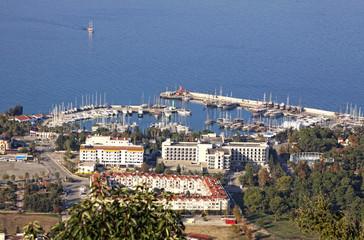 Aerial view of sea port of Kemer city, Antalya province, Turkey