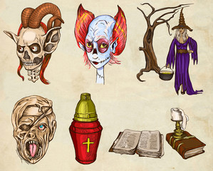 Halloween Avatars - An hand drawn full sized illustrations, pack