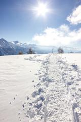 Wall Mural - Sentiero di montagna con neve