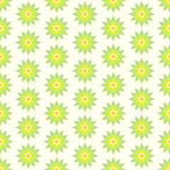 Green Retro Flower Seamless Pattern on Pastel Background
