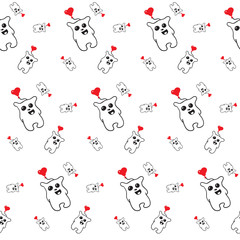 black and white pattern of simless cartoon