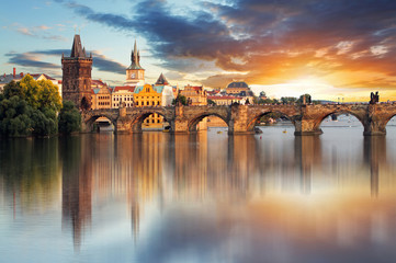 Fototapeten Prag Prague - Charles bridge, Czech Republic