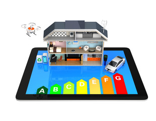 Home automation concept with energy efficiency rating chart