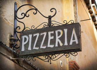Self adhesive Wall Murals Pizzeria Vintage pizzeria sign in Venice Italy