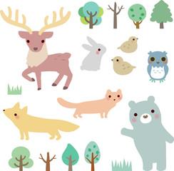 Fototapeta 動物たちと森の木々 obraz