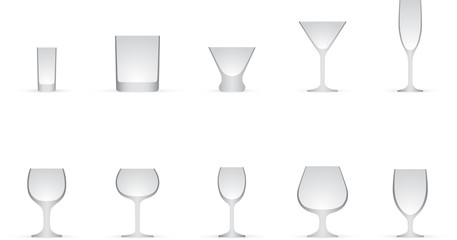 Various types of vector glasses on white background