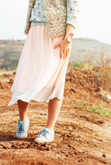 Young Beautiful Woman in Soft Pink Skirt, toned