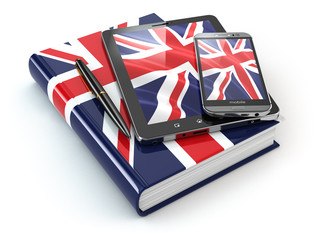 English learning. Mobile devices, smartphone, tablet pc and book