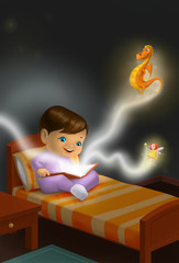 Child reading a fantasy book