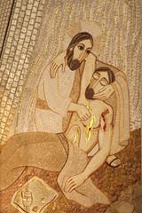Madrid - Modern mosiac of Good Samaritan in Almudena cathedral