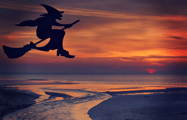 Witch on flying broomstick on red sky background