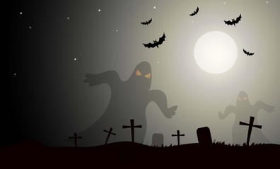 Ghost & Halloween Night-Vector