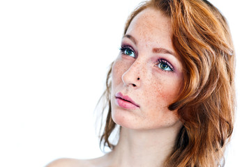 attractive girl with freckles