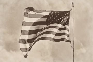 United Stated US American patriotic flag sepia retro vintage