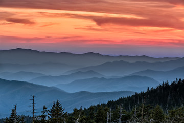 Aluminium Prints Natural Park Sunset in the Smokies
