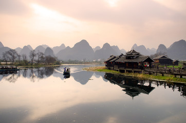 Zelfklevend Fotobehang Guilin Landscape in Yangshuo Guilin, China ..