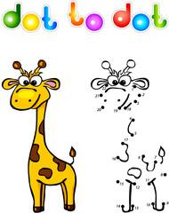 Funny cartoon giraffe dot to dot