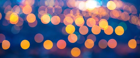 merry christmas lights abstract circular bokeh on blue backgroun Fotomurales