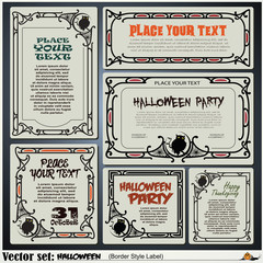 Border style labels on different topics on a theme of halloween