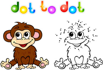 Funny cartoon monkey dot to dot