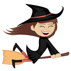 Witches all around - a brunette witch girl is riding on a broom