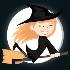 Witches all around - riding on a broom (full moon)