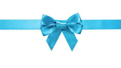 azure blue ribbon bow horizontal border