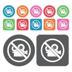 No Video Camera Icon. Prohibited Signs Icons Set. Round And Rect
