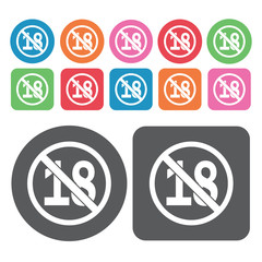 No Minors Icon. Prohibited Signs Icons Set. Round And Rectangle