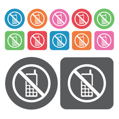 No Phones Icon. Prohibited Signs Icons Set. Round And Rectangle