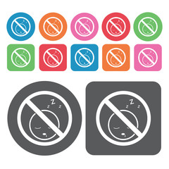 No Sleeping Icon. Prohibited Signs Icons Set. Round And Rectangl