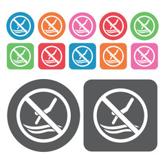 No Diving In The Pool Icon. Prohibited Signs Icons Set. Round An