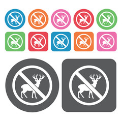 No Deers Icon. Prohibited Signs Icons Set. Round And Rectangle C