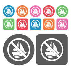 No Sailing Icon. Prohibited Signs Icons Set. Round And Rectangle